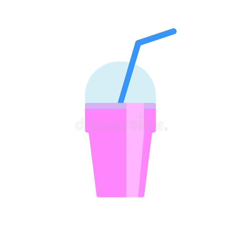 Plan symbol för milkshake, vektortecken, färgrik pictogram som isoleras på vit vektor illustrationer