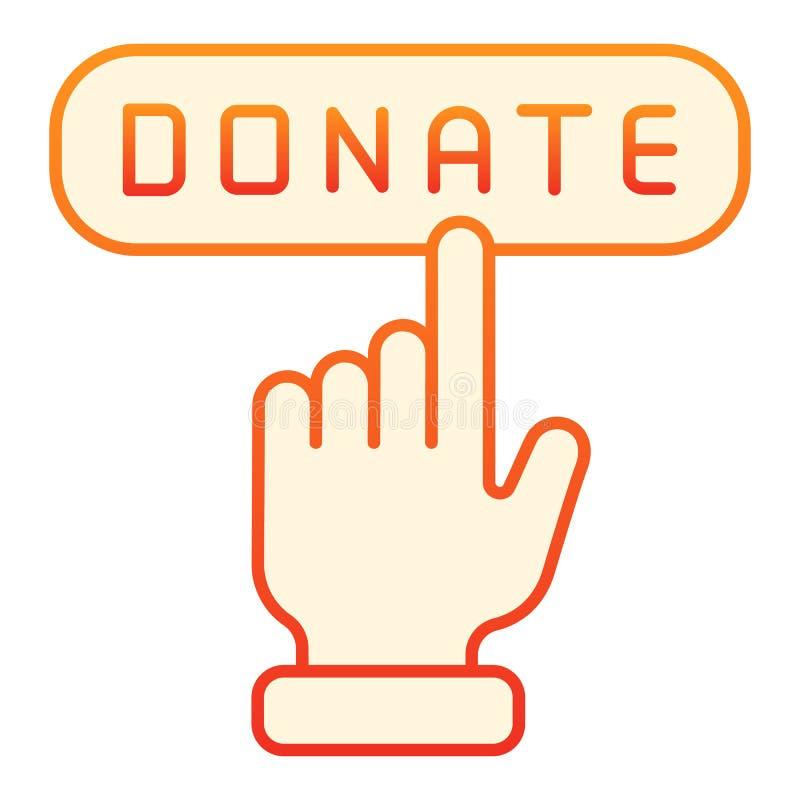 Plan symbol för online-donation Donera orange symboler för knappen i moderiktig plan stil Design för hjälplutningstil som planläg royaltyfri illustrationer
