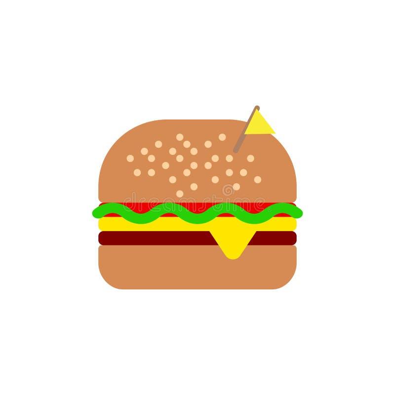 Plan symbol för ostburgare, vektortecken, färgrik pictogram som isoleras på vit royaltyfri illustrationer