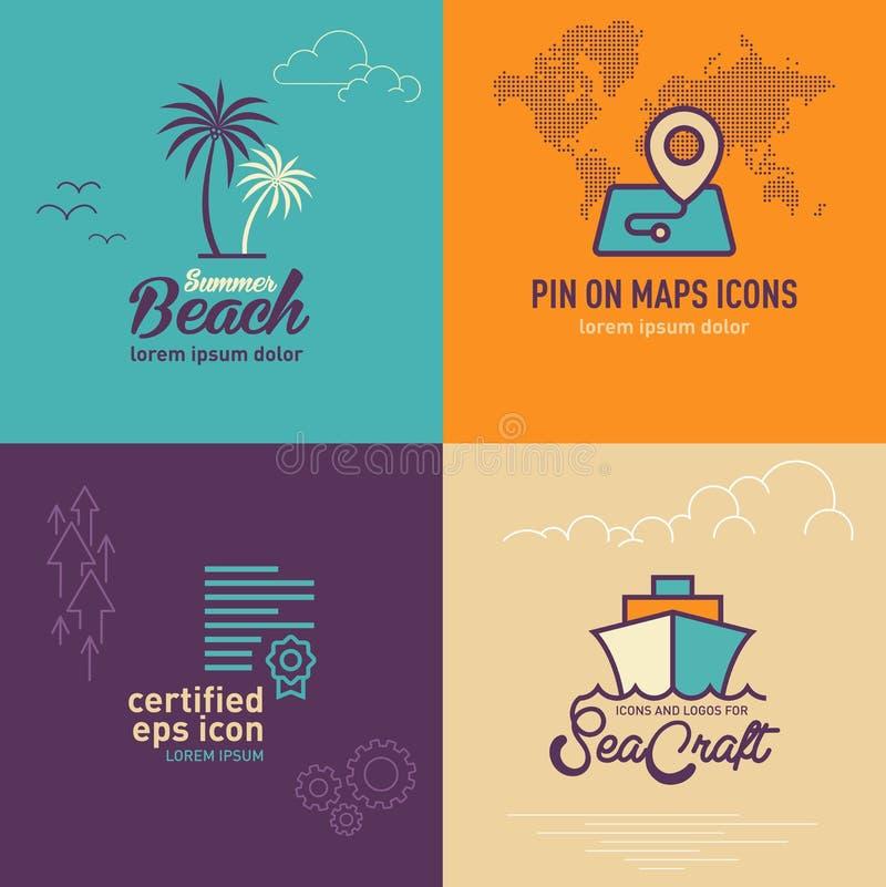 Plan symbol för palmträd, lägeöversikt med världskartalägenhetsymbolen, den plana symbolen för certifikat och den plana symbolen  stock illustrationer