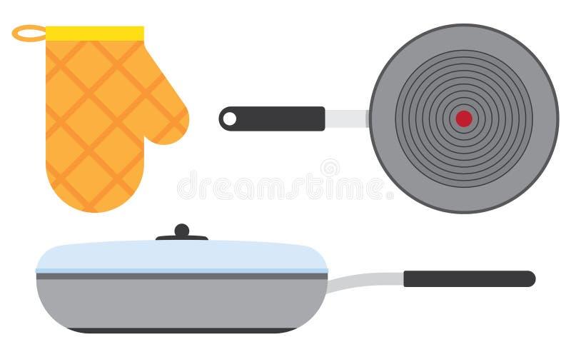 Plan symbol för panna med lång skugga royaltyfri illustrationer