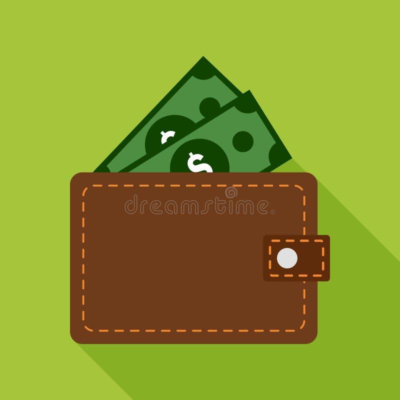Plan symbol för plånbok på grön bakgrund royaltyfri illustrationer
