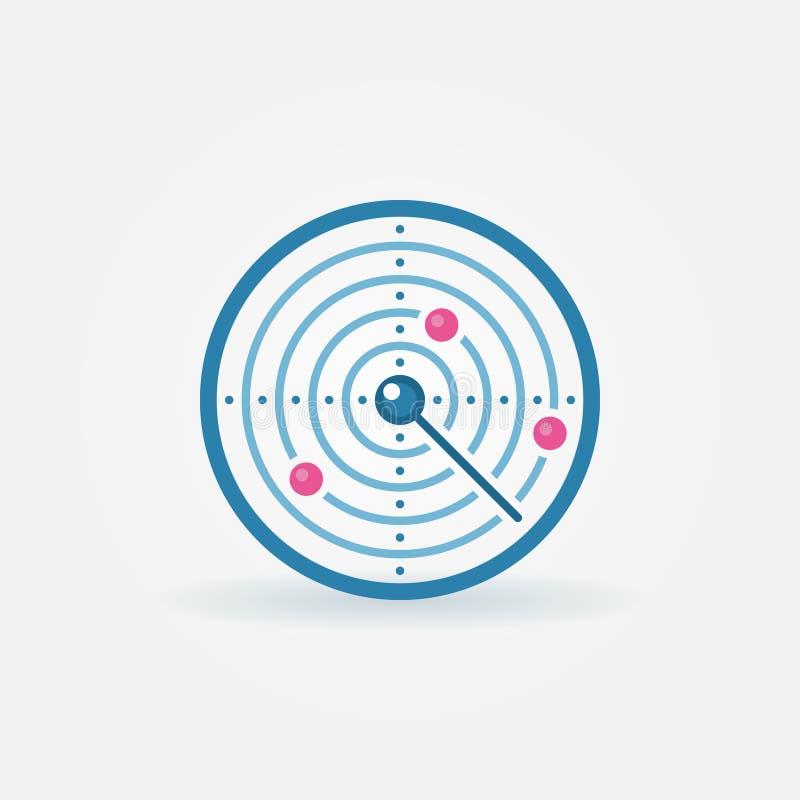 Plan symbol för radar royaltyfri illustrationer