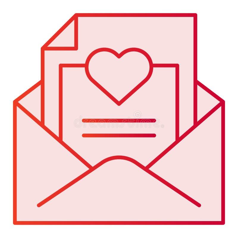 Plan symbol för romantisk bokstav Kuvert med rosa symboler för förälskelsebokstav i moderiktig plan stil Post med hjärtalutningst royaltyfri illustrationer