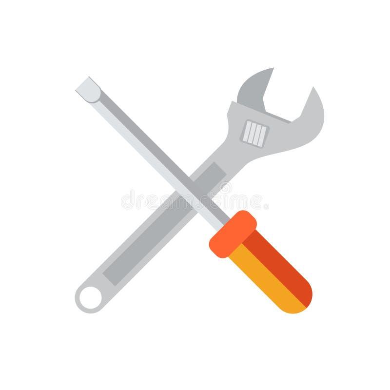 Plan symbol för skiftnyckel som och för skruvmejsel isoleras på den vita bakgrundsvektorn stock illustrationer