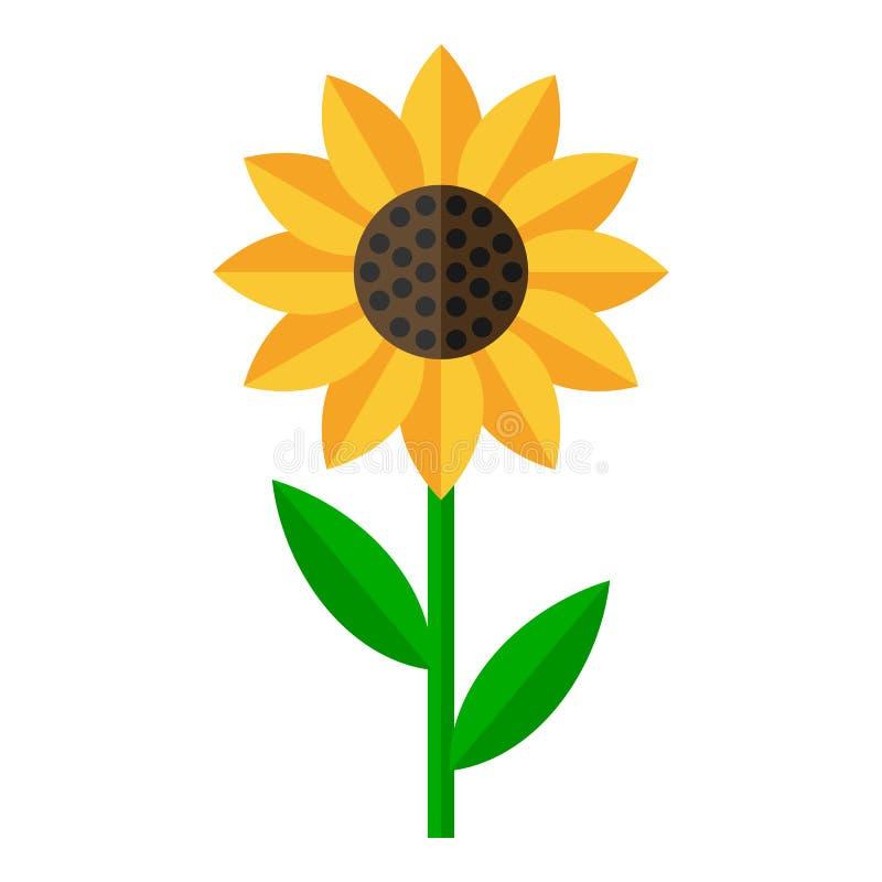 Plan symbol för solros som isoleras på vit stock illustrationer