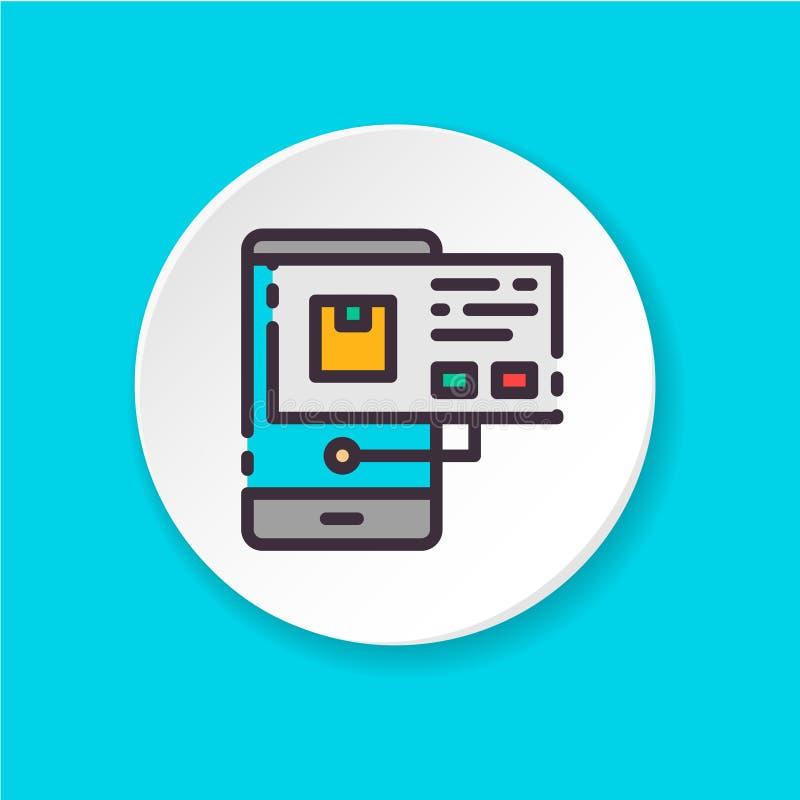 Plan symbol för symbolshemsökande i telefonen Knapp för rengöringsduken eller mobilen app Inter-UI-/UXanvändare stock illustrationer