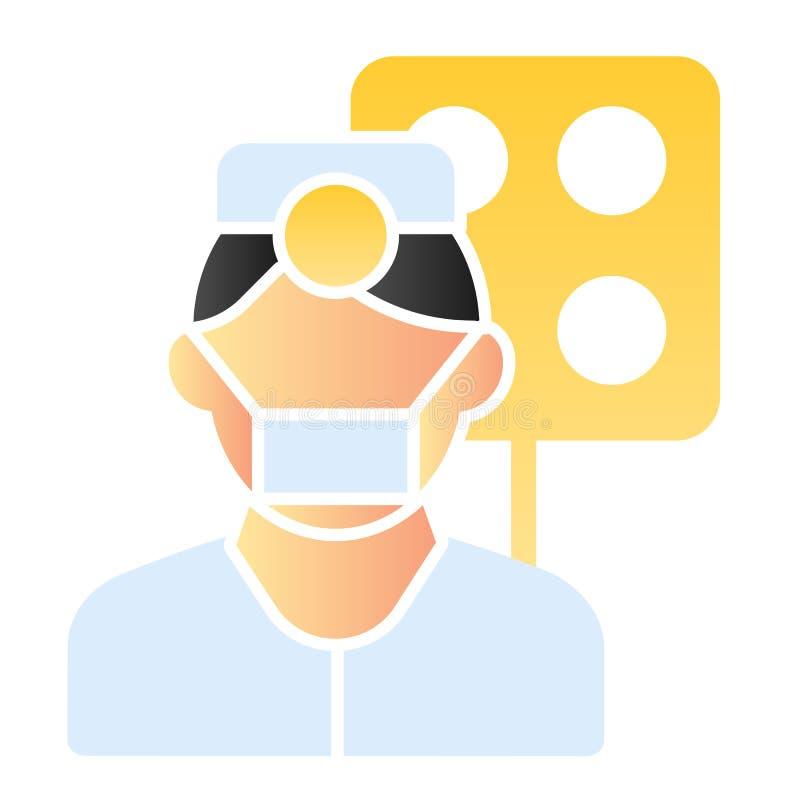 Plan symbol för tandläkare Doktorsfärgsymboler i moderiktig plan stil Design för tandvårdlutningstil som planläggs för rengörings stock illustrationer