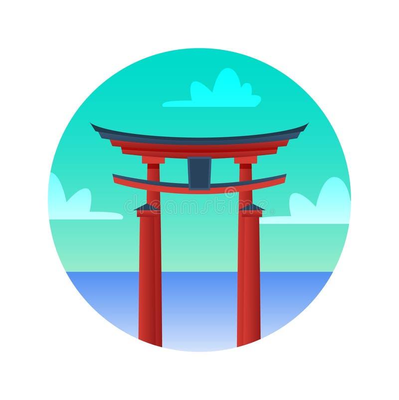Plan symbol för Torii port Japan historiska sikt vektor illustrationer