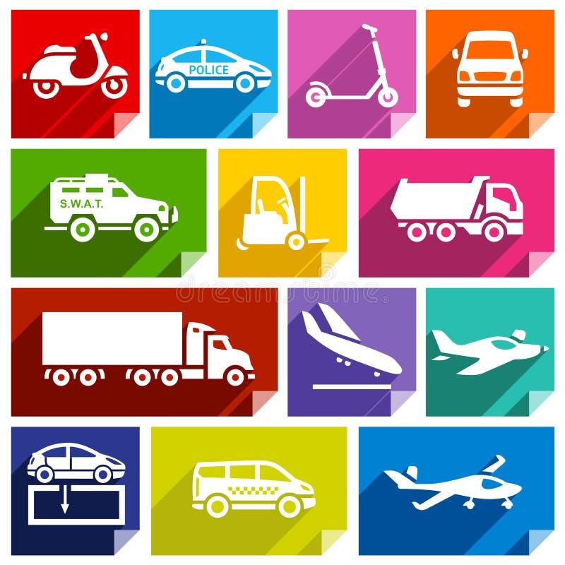 Plan symbol för transport, ljus color-05 stock illustrationer