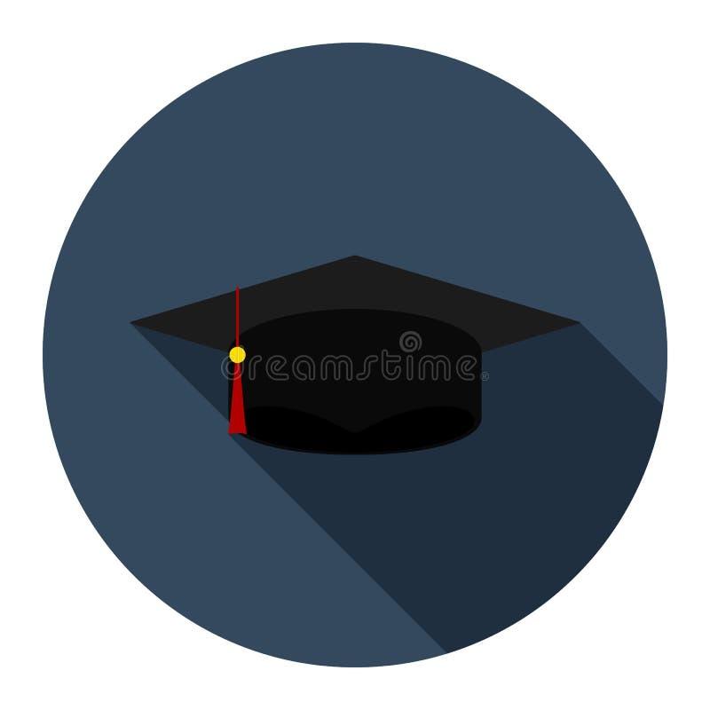 Plan symbol f?r avl?ggande av examenlock p? bl? bakgrund royaltyfri illustrationer