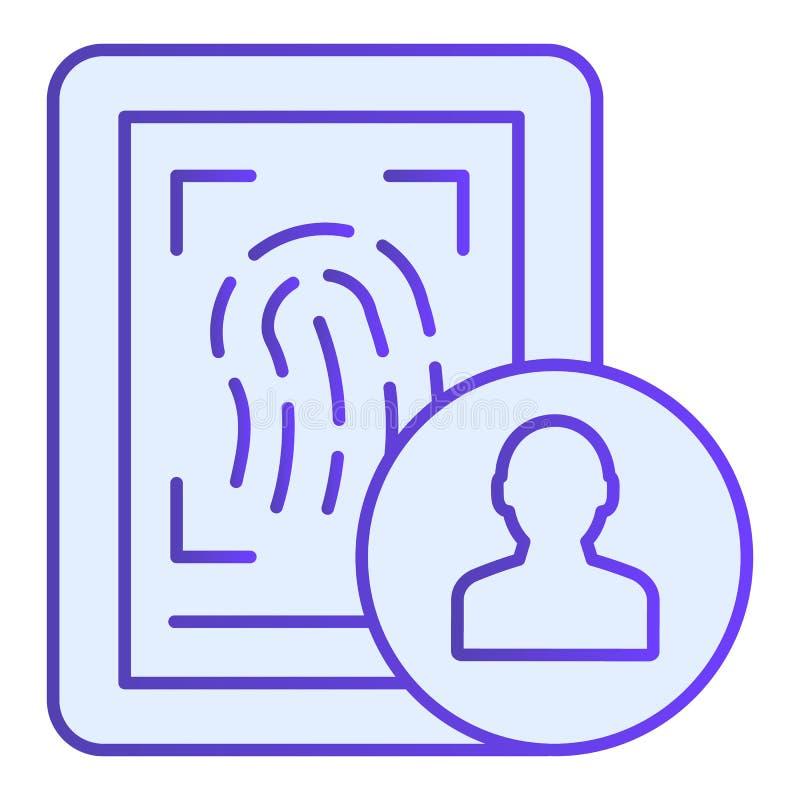 Plan symbol f?r fingeravtryck Blåa symboler för identitet i moderiktig plan stil Design för stil för fingerbildläsningslutning so vektor illustrationer