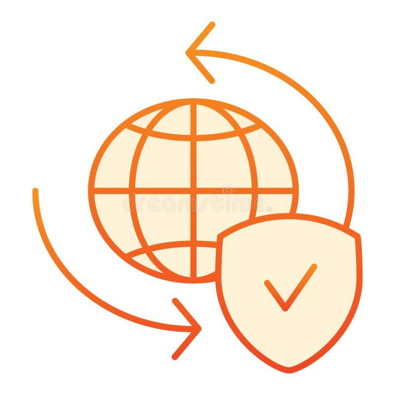 Plan symbol f?r globalt utbyte Planet med orange symboler för sköld i moderiktig plan stil Stil f?r v?rldsjordklot- och f?stinglu royaltyfri illustrationer