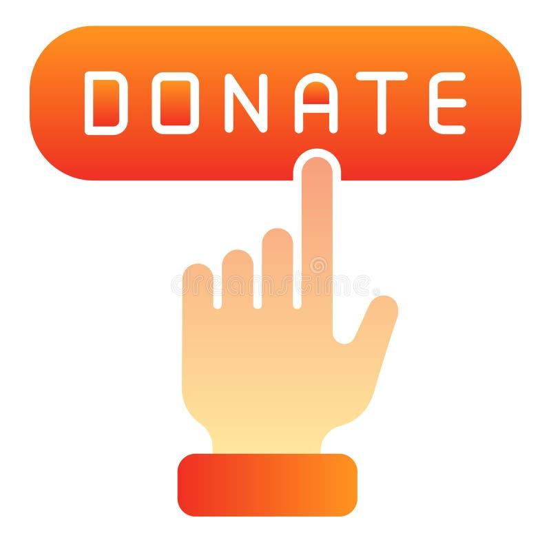 Plan symbol f?r online-donation Donera knappfärgsymboler i moderiktig plan stil Design f?r hj?lplutningstil som planl?ggs f?r ren royaltyfri illustrationer