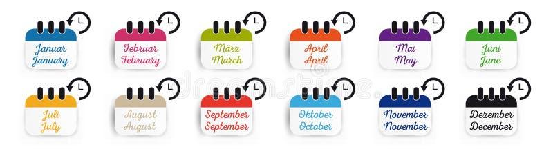 Plan symbol Januari för kalender till tyska December och engelskt - den färgrika vektoruppsättningen - som isoleras på vit bakgru royaltyfri illustrationer