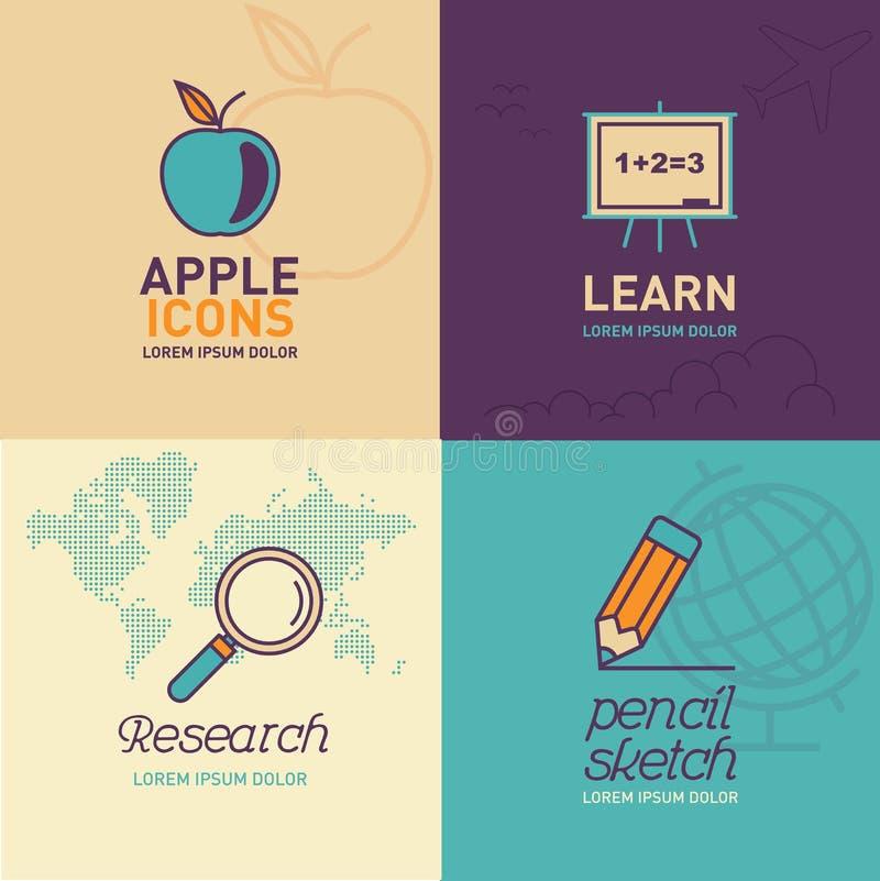 Plan symboler för utbildning/äpplesymbol, whiteboardsymbol, forskningsymbol och blyertspennasymbol vektor illustrationer