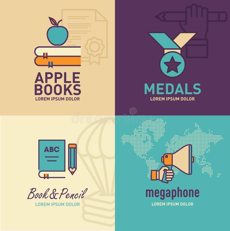 Plan symbols-, äpple- på böcker symbol, medaljsymbols-, bok- och blyertspennasymbol för utbildning, megafonsymbol royaltyfri illustrationer