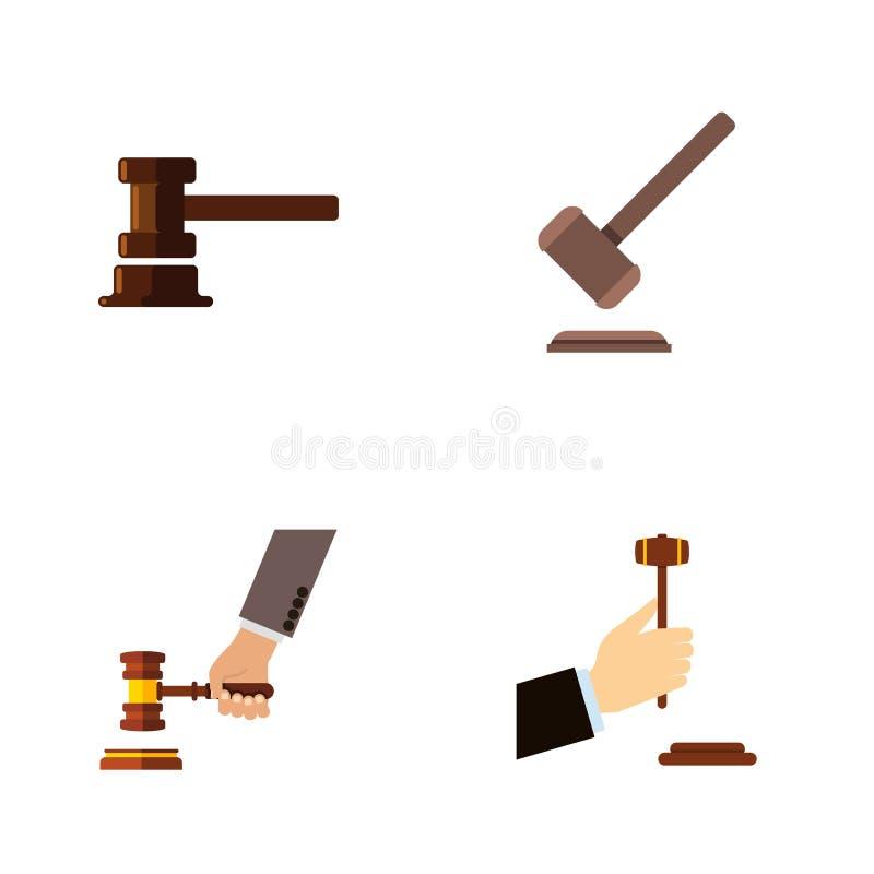 Plan symbolsadvokat Set Of Tribunal, lag, regerings- byggnad och andra vektorobjekt Inkluderar också rättvisa, lag, brott stock illustrationer