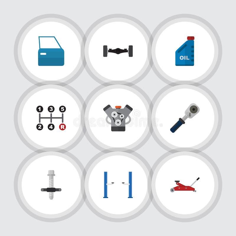 Plan symbolsautomatiskuppsättning av spärrhjul, bildel, ljuddämpare och andra vektorobjekt Inkluderar också bensin som är manuell vektor illustrationer