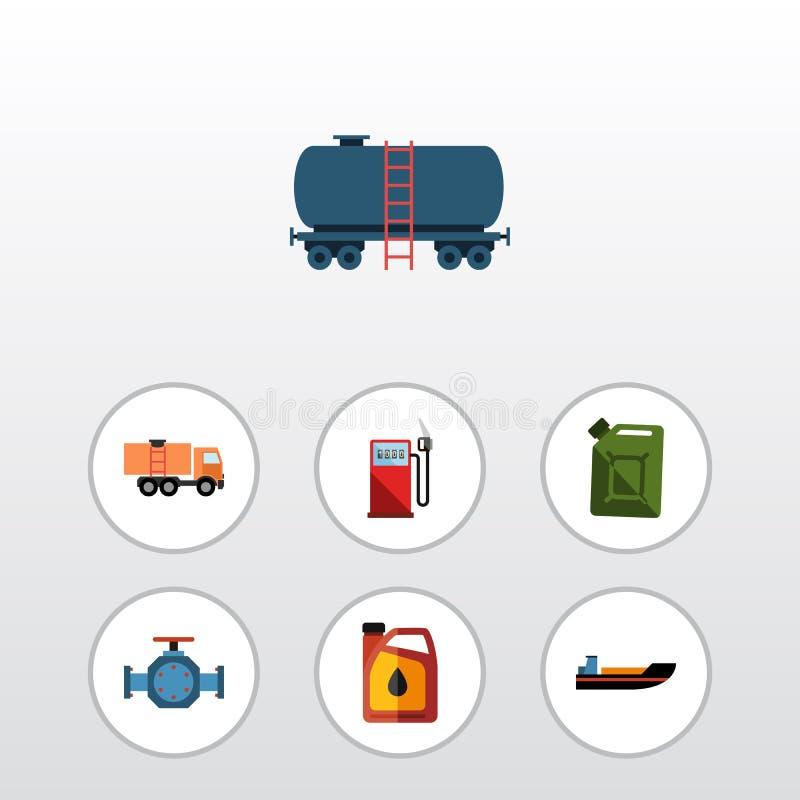 Plan symbolsbensinuppsättning av fartyg, fläns, bensindunk och andra vektorobjekt Inkluderar också bränsle, olja, tankfartygbestå stock illustrationer