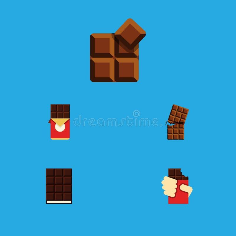 Plan symbolsbitterhetuppsättning av chokladstång, kakao, efterrätt och andra vektorobjekt Inkluderar också omslaget, kakao, efter royaltyfri illustrationer