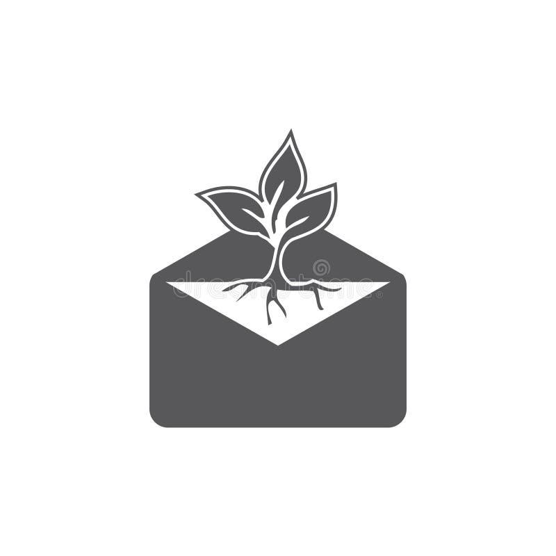 Plan symbolsbokstav för illustration och bladsvartfärg - vektor isolerat plant bokstavs- och bladsymbol vektor illustrationer