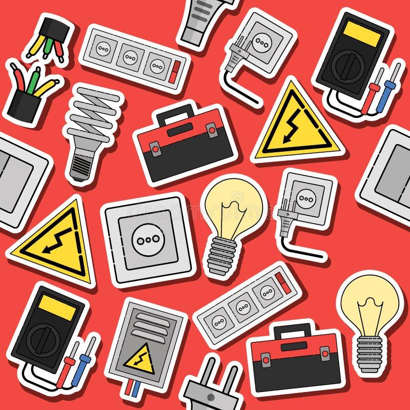 Plan symbolscollage för elektricitet stock illustrationer