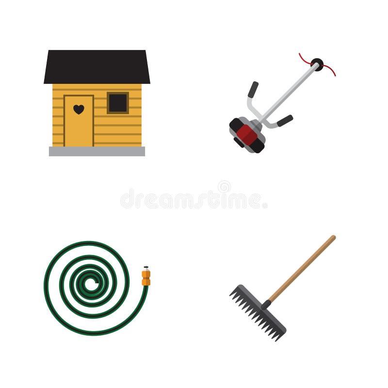 Plan symbolsDachauppsättning av Gräs-skärare, Hosepipe, stallning och andra vektorobjekt Inkluderar också skäraren, ladugården, s royaltyfri illustrationer