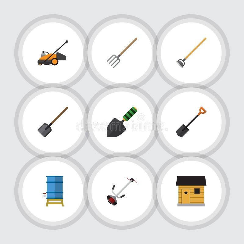 Plan symbolsDachauppsättning av Gräs-skärare, skyffel, stallning och andra vektorobjekt Inkluderar också vatten, lantbrukarhemmet royaltyfri illustrationer