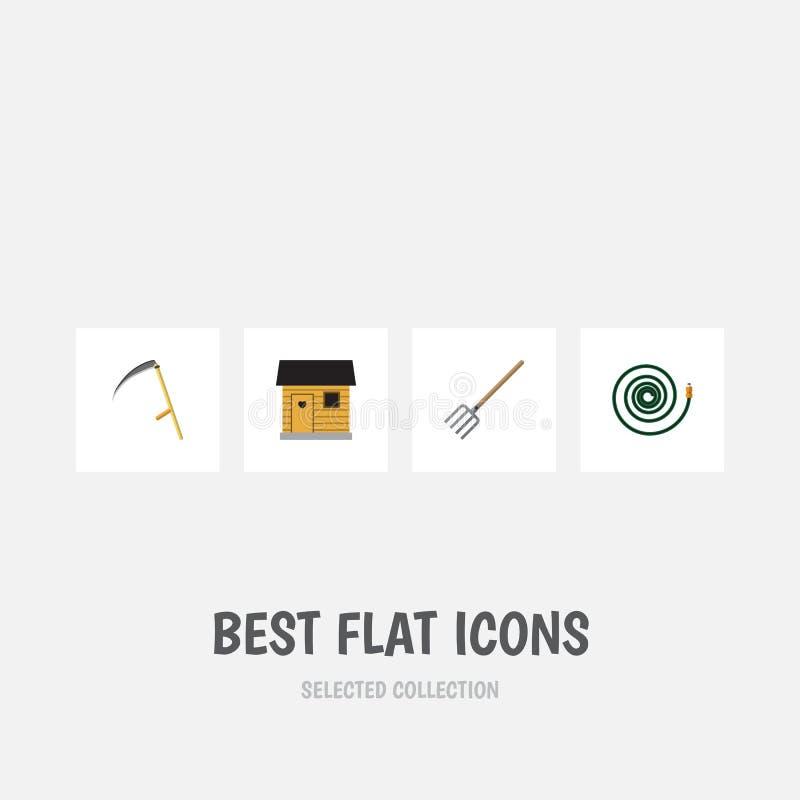 Plan symbolsDachauppsättning av Hay Fork, skärare, stallning och andra vektorobjekt Inkluderar också lien, stallning, gaffel vektor illustrationer