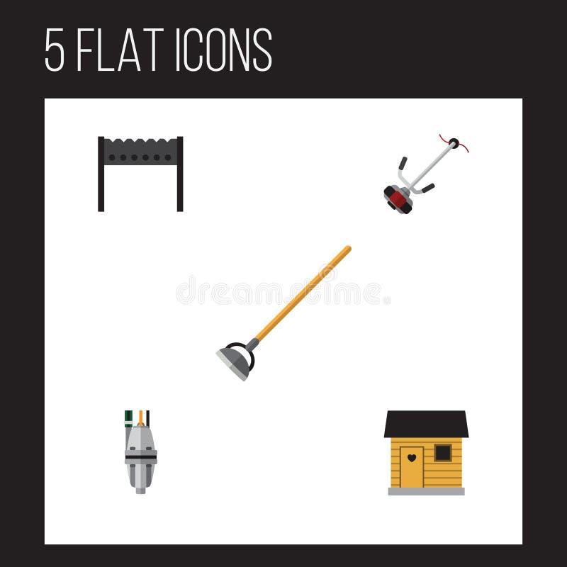 Plan symbolsDachauppsättning av pump, Gräs-skärare, stallning och andra vektorobjekt Inkluderar också Bbq, hackan, stallningbestå stock illustrationer
