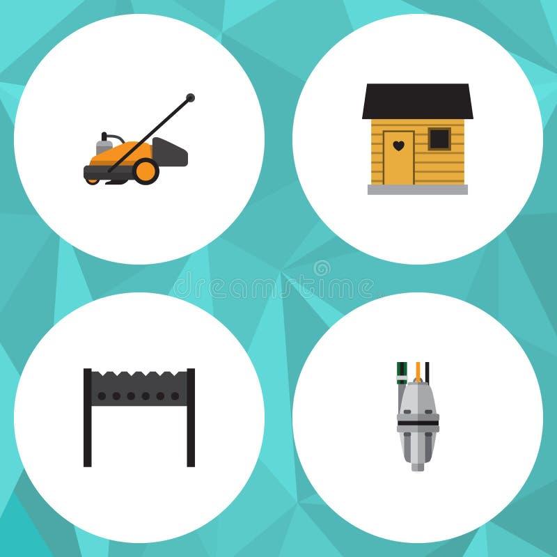 Plan symbolsDachauppsättning av pump, gräsklippare, stallning och andra vektorobjekt Inkluderar också Bbq, grillfesten, hjälpmede royaltyfri illustrationer