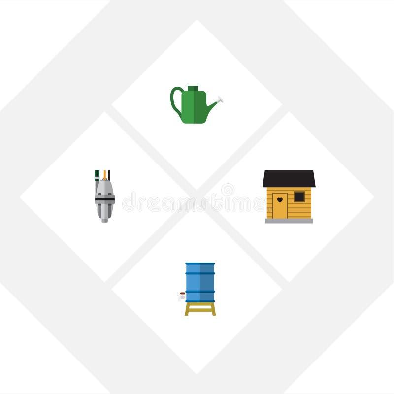 Plan symbolsDachauppsättning av pump, stallning, behållare och andra vektorobjekt Inkluderar också ladugården, behållaren, lantbr stock illustrationer
