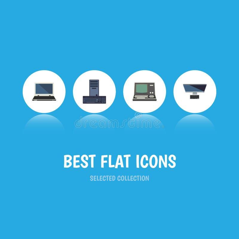 Plan symbolsdatoruppsättning av processor, anteckningsbok, teknologi och andra vektorobjekt Inkluderar också tangentbordet, bärba royaltyfri illustrationer