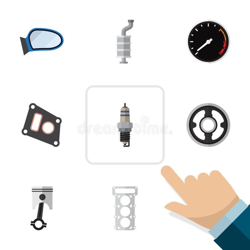 Plan symbolsdeluppsättning av packning, bälte, ljuddämpare och andra vektorobjekt Inkluderar också hastighet, bilen, bältebestånd vektor illustrationer