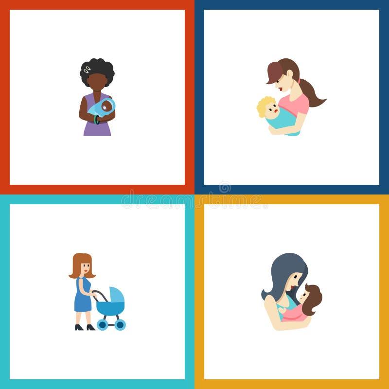 Plan symbolsförälderuppsättning av Perambulator, Mam, barn och andra vektorobjekt Inkluderar också föräldern, modern, Perambulato vektor illustrationer