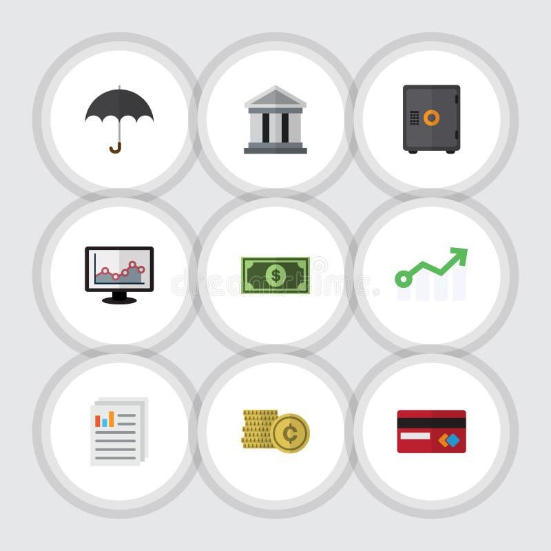 Plan symbolsfinansuppsättning av dollarsedel, betalning, slags solskydd och andra vektorobjekt Inkluderar också myntet, kassaskåp stock illustrationer