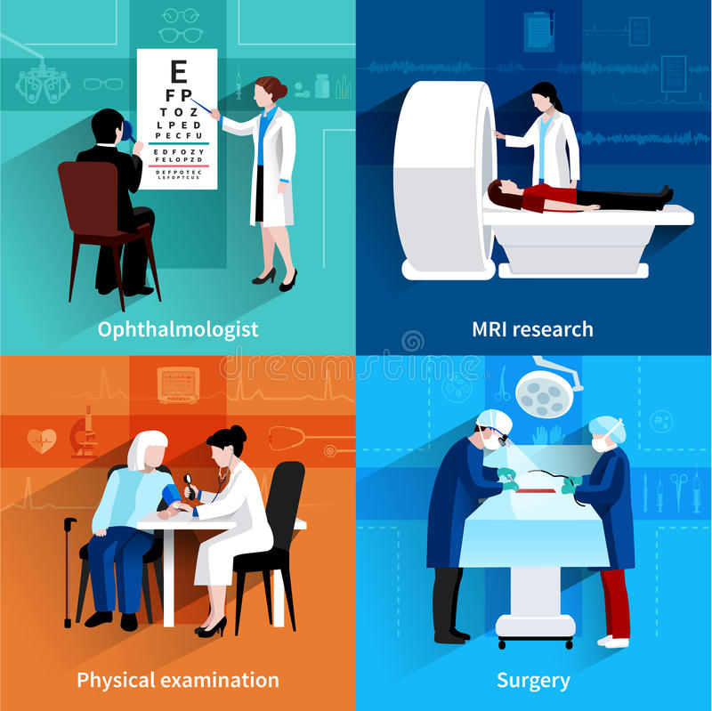 Plan symbolsfyrkant för medicinska specialister 4 stock illustrationer