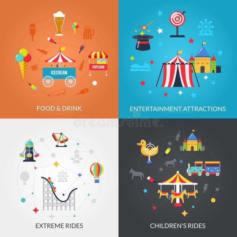 Plan symbolsfyrkant för nöjesfält 4 royaltyfri illustrationer