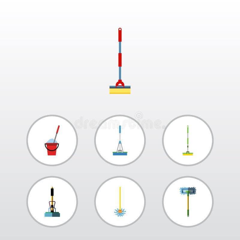 Plan symbolsgolvmoppuppsättning av kvast, utrustning, hink och andra vektorobjekt Inkluderar också viska, svepen som gör ren best vektor illustrationer