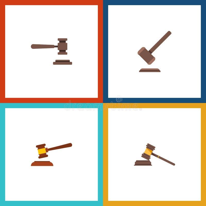 Plan symbolshammareuppsättning av hammaren royaltyfri illustrationer