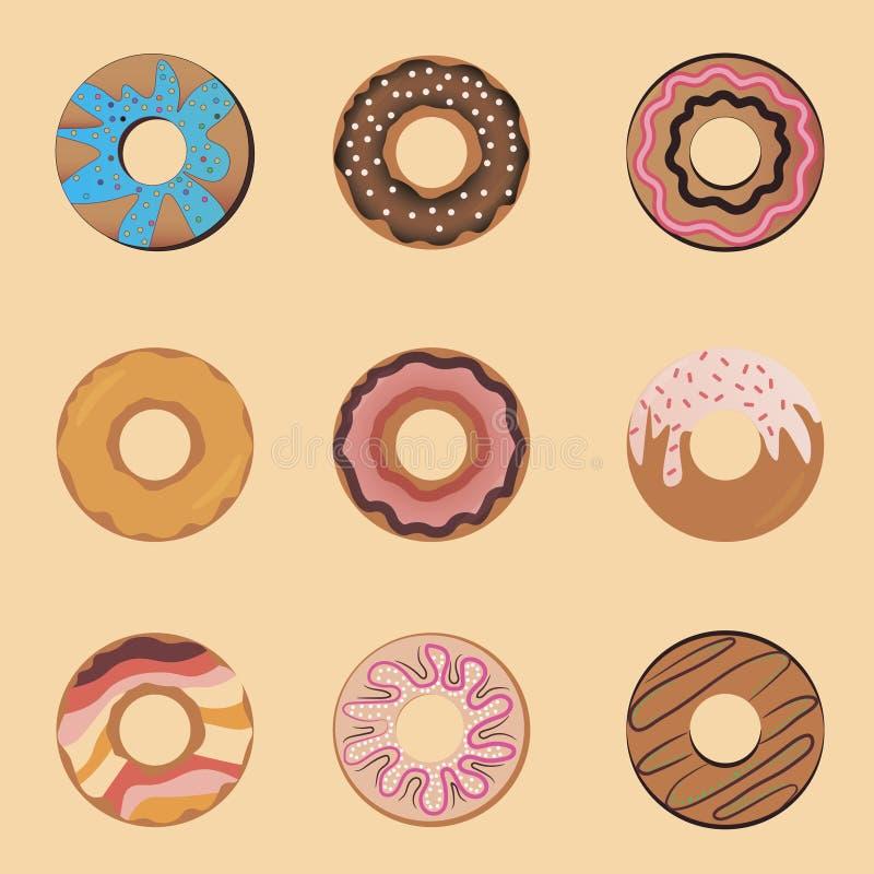 Plan symbolsillustration med choklad som strilas, med sötsaker Ställ in den nytt bakade kakan stock illustrationer