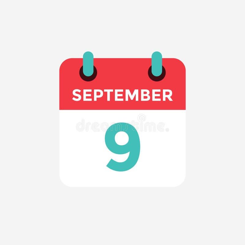 Plan symbolskalender, 9 September Datum, dag och månad royaltyfri illustrationer