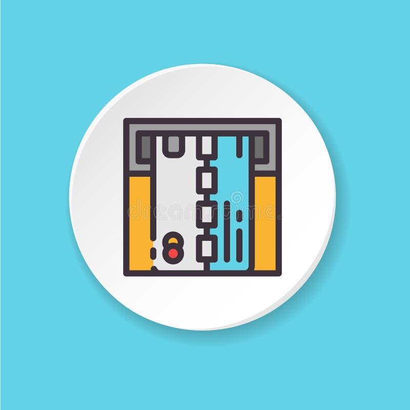 Plan symbolskontokort ATM för vektor Knapp för rengöringsduken eller mobilen app stock illustrationer