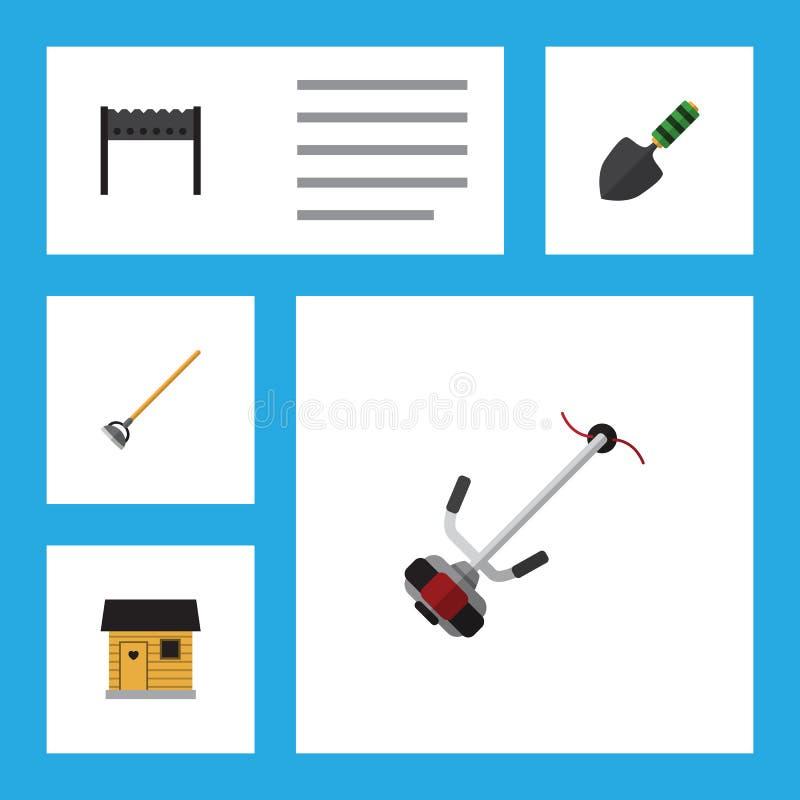 Plan symbolslantgårduppsättning av Gräs-skärare, stallning, grillfest och andra vektorobjekt Inkluderar också spateln, fyrpanna vektor illustrationer