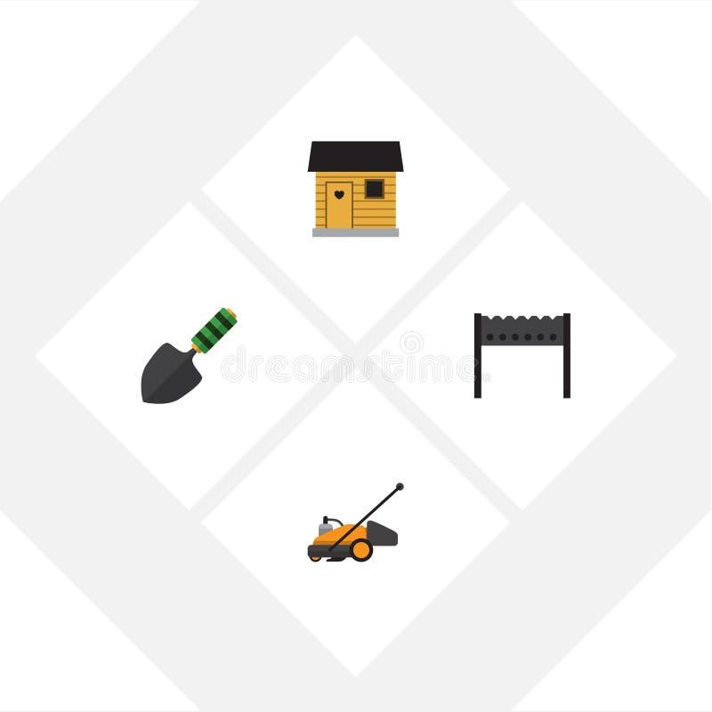 Plan symbolslantgårduppsättning av grillfest, murslev, stallning och andra vektorobjekt Inkluderar också mursleven, grillfesten,  stock illustrationer