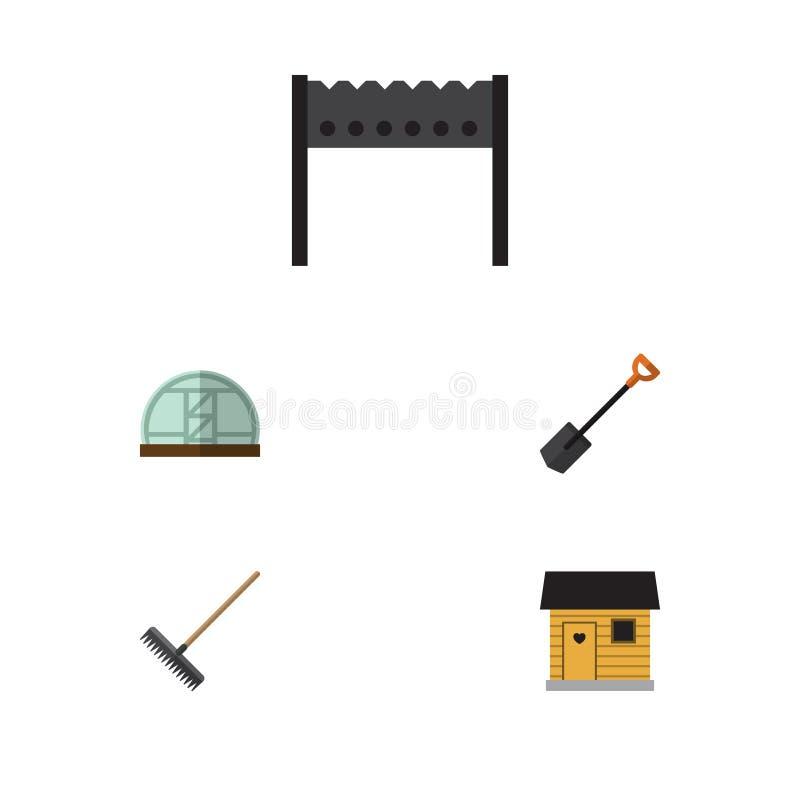 Plan symbolslantgårduppsättning av grillfest, stallning, harv och andra vektorobjekt Inkluderar också fyrpannan, lantgården, lant vektor illustrationer
