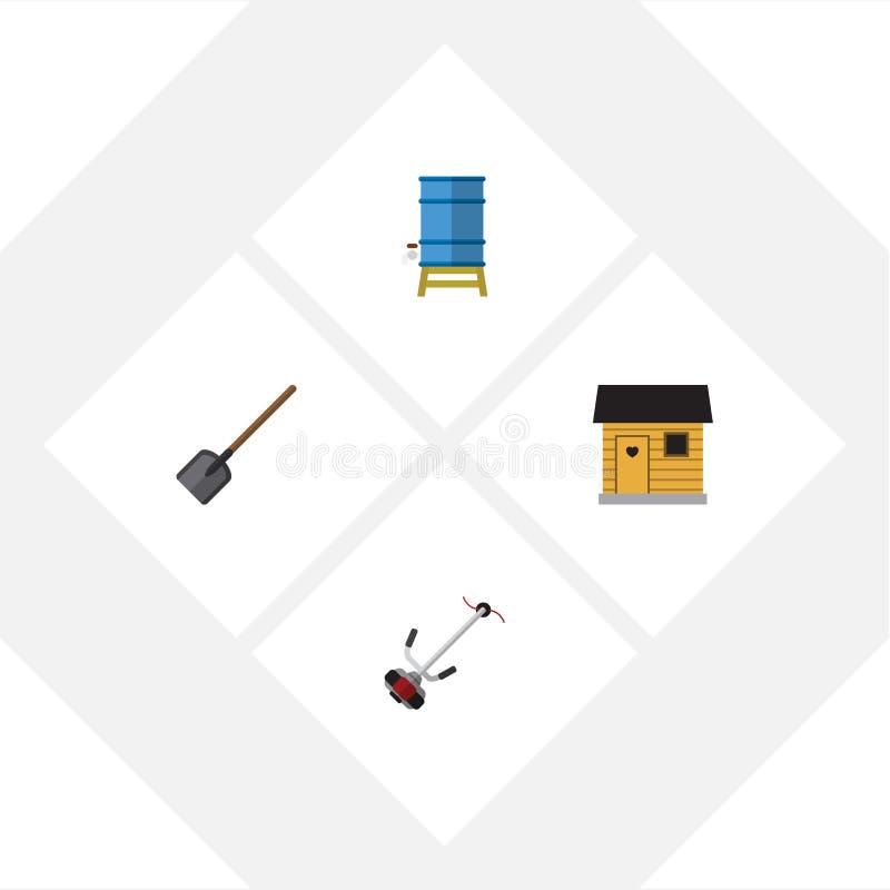 Plan symbolslantgårduppsättning av stallning, skyffel, Gräs-skärare och andra vektorobjekt Inkluderar också behållaren, behållare stock illustrationer