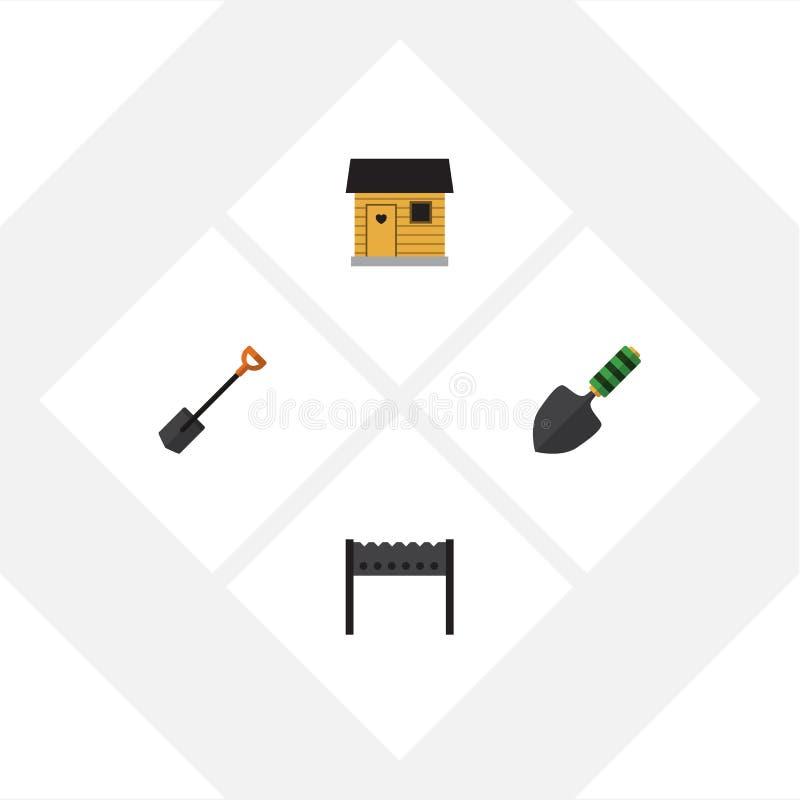 Plan symbolslantgårduppsättning av stallning, spade, grillfest och andra vektorobjekt Inkluderar också fyrpannan, skyffeln, mursl royaltyfri illustrationer