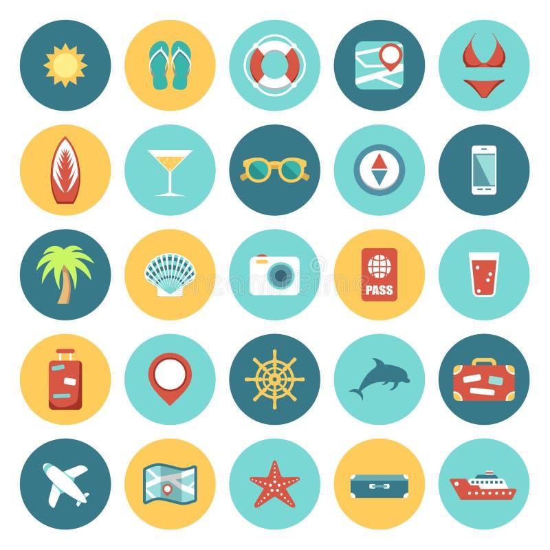 Plan symbolsloppuppsättning royaltyfri illustrationer